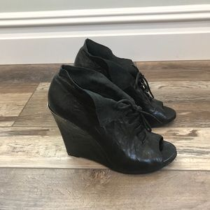 Sam Edelman Black Leather Ankle Wedge Shoes